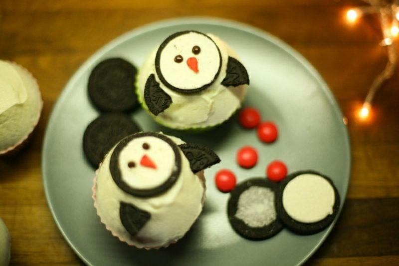 Weihnachts Cupcakes Penguinen Oreo Kekse