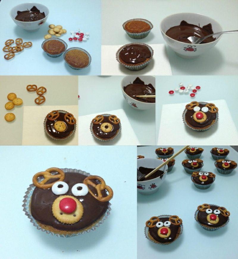 Weihnachts Cupcakes Rudolf Bilderanleitung