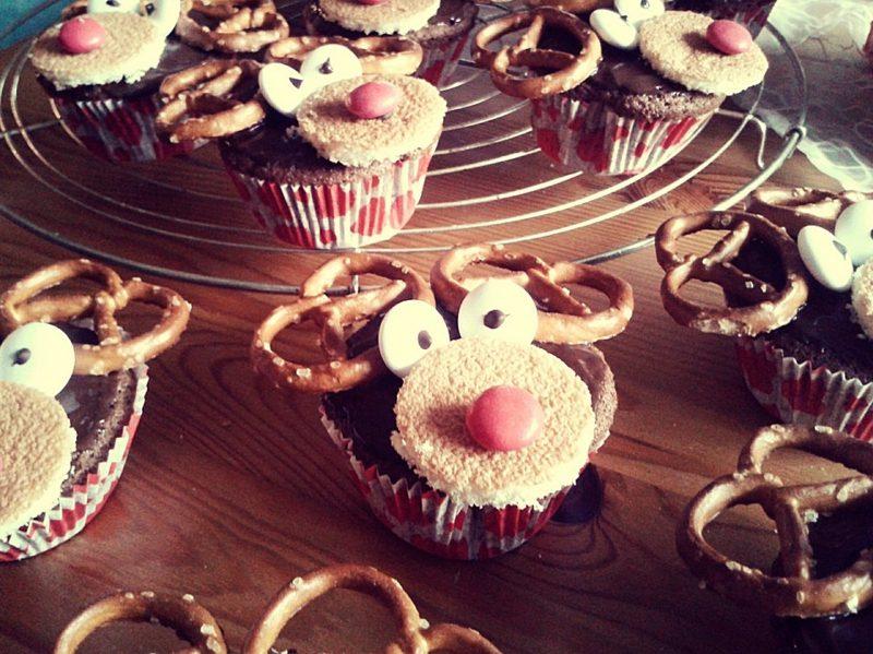 Weihnachts Cupcakes Rudolf herrlicher Look