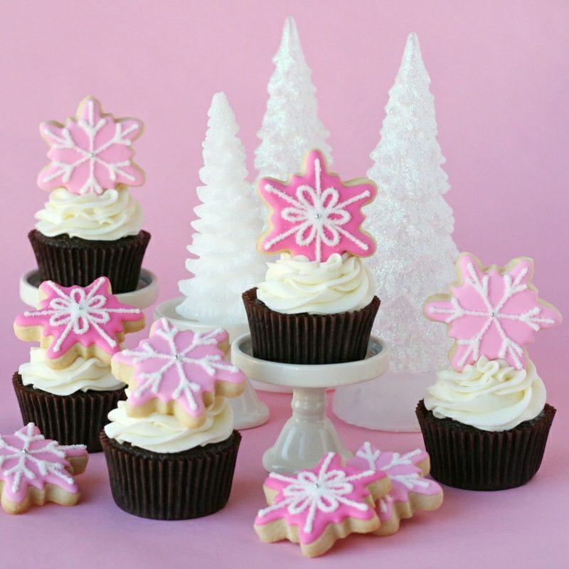 Weihnachts Cupcakes kleine Plätzchen Schneeflocken
