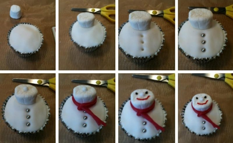 Weihnachts Cupcakes Schneemann aus Fondant machen Bilderanleitung