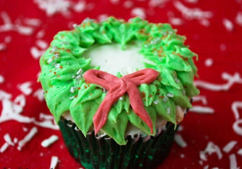 Weihnachts Cupcakes Kranz Fondant herrlicher Look