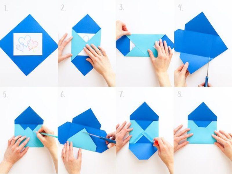 Briefumschlag falten Anleitung in Bildern
