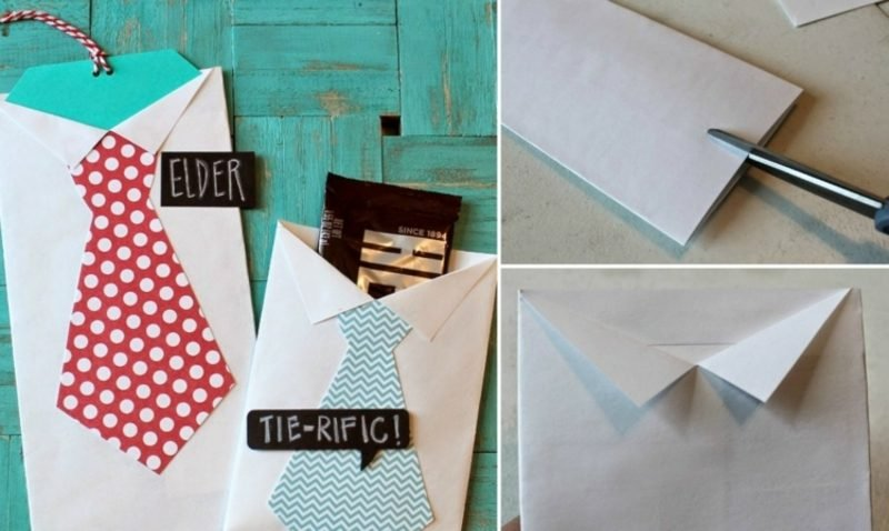 Briefumschlag falten Krawatte Grusskarte Vaterstag