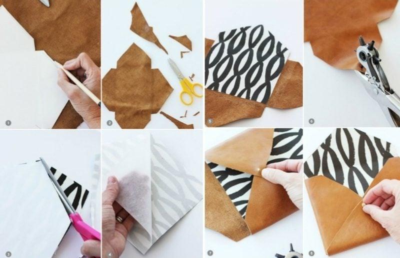 Briefumschlag falten aus Stoff und Leder originell