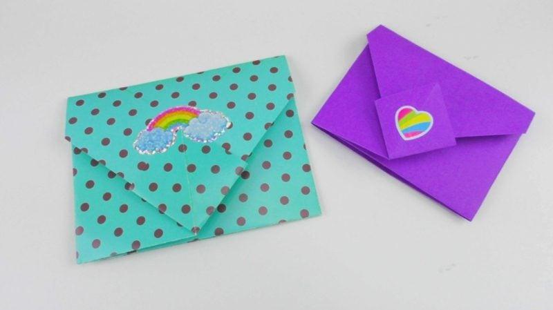 Briefumschlag falten Regenbogenfarben originell