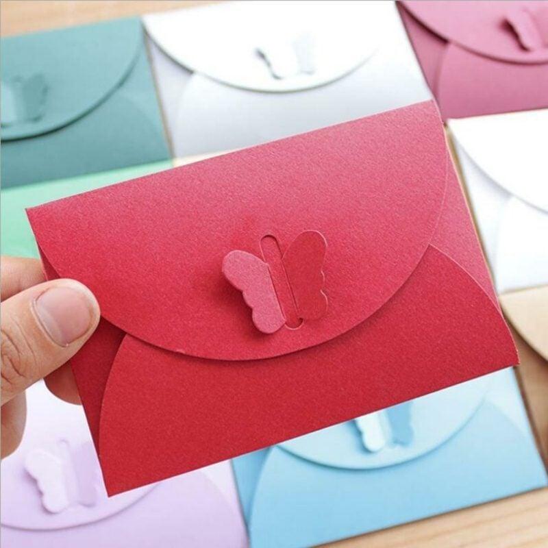 Briefumschlag falten Schmetterling Verschluss rot