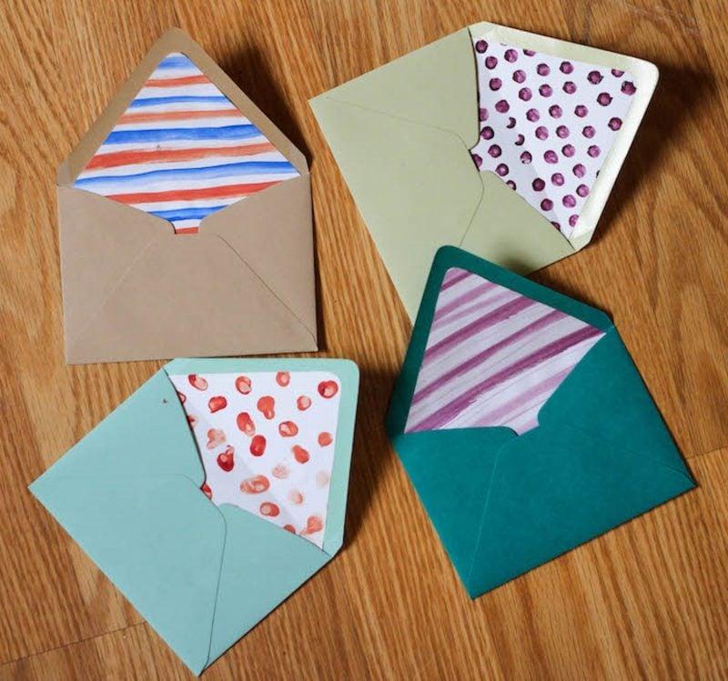 Briefumschlag falten interessante Dekorationen drinnen