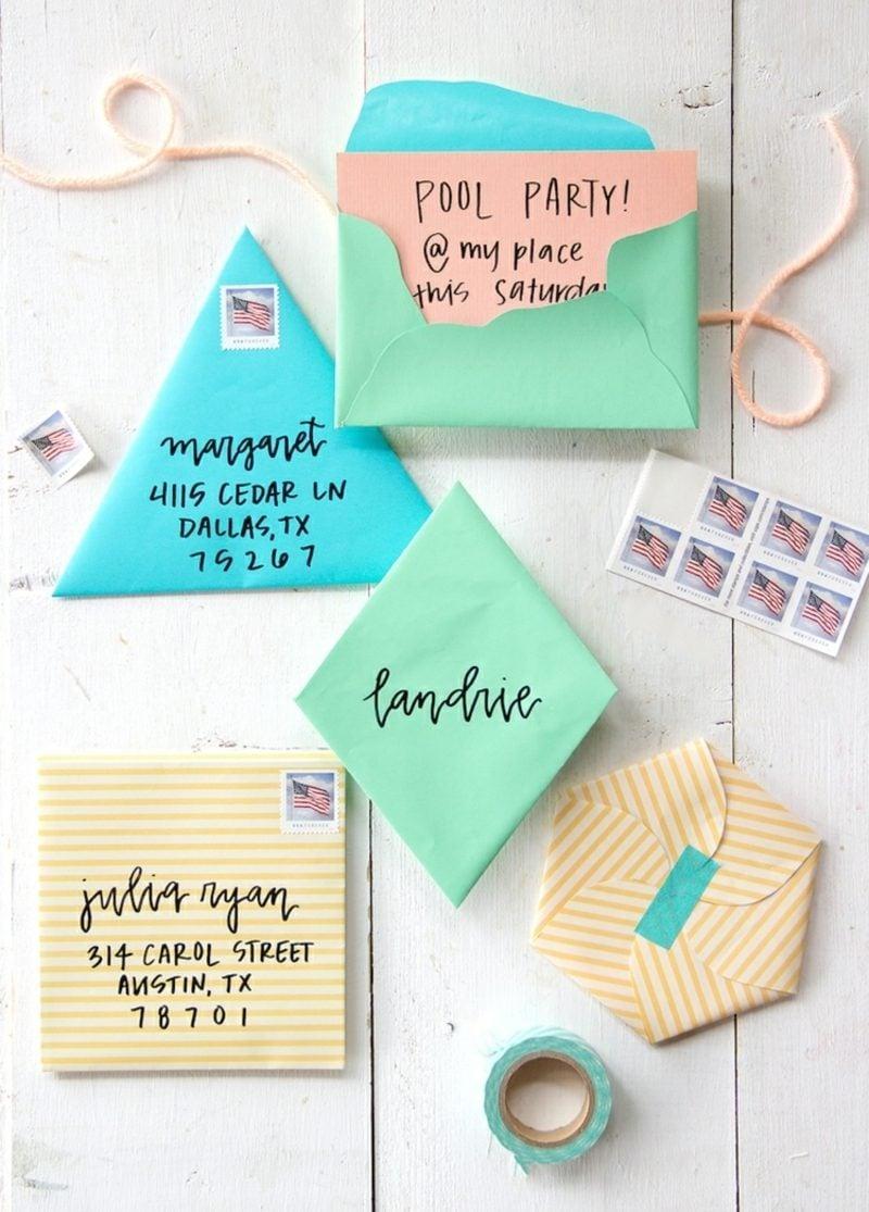 Briefumschlag falten geometrische Formen originell