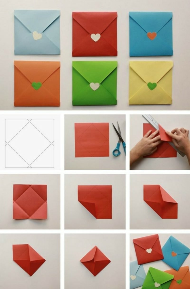 Briefumschlag falten quadratisch kleine Papierherzen