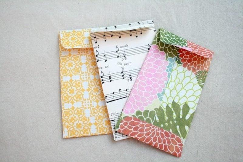 Briefumschlag falten aus Verpackungs- oder Notenpapier