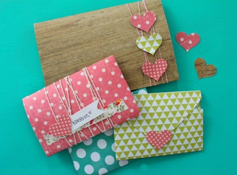 Briefumschlag falten und originell verzieren DIY Ideen
