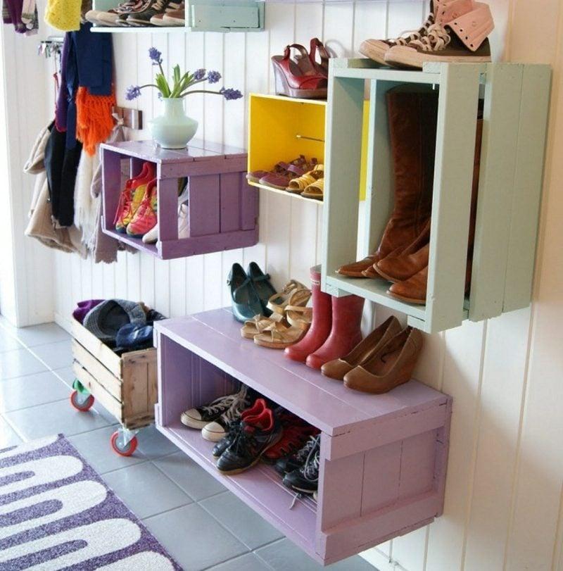 Schuhregal selber bauen Holzkisten herrlicher Look
