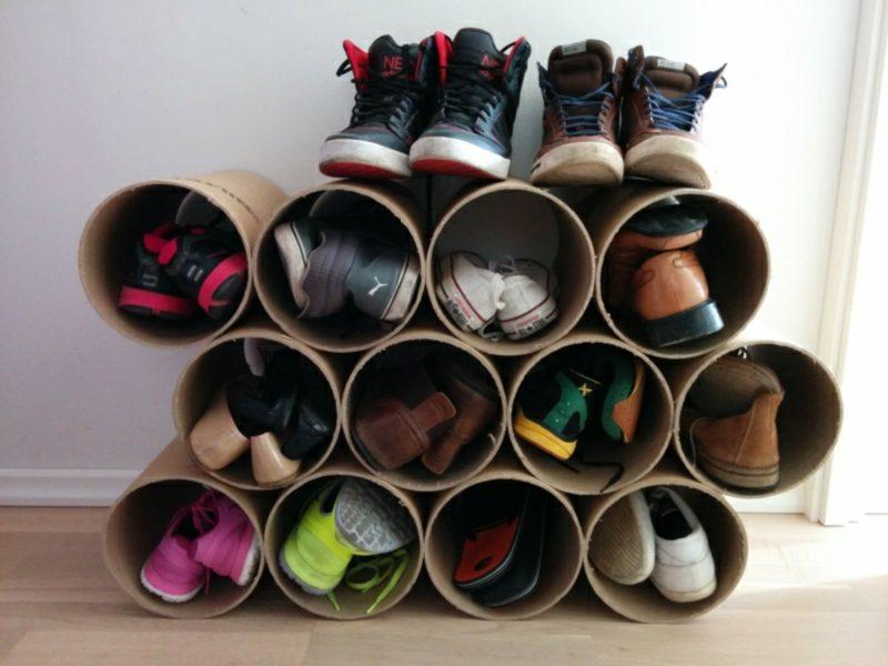 Schuhregal selber bauen Röhre praktische Idee