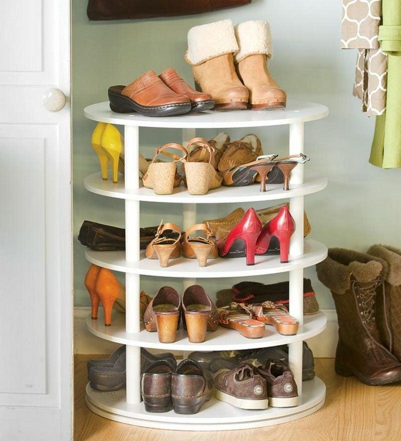 Schuhregal selber bauen drehbar weiss mehrere Etagen
