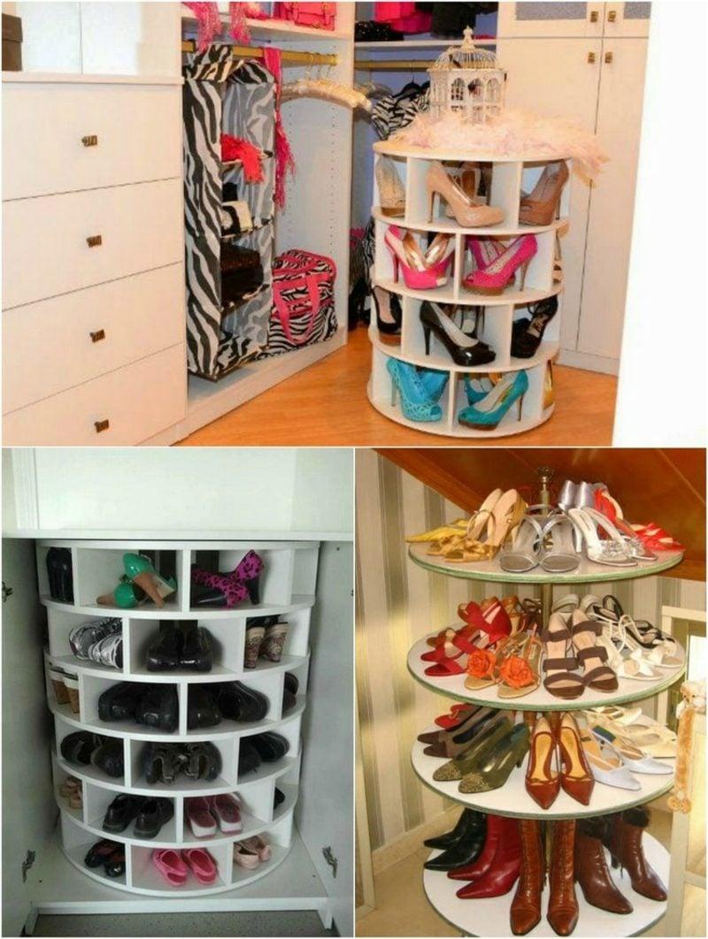 Schuhregal selber bauen drehbar originelle Designs