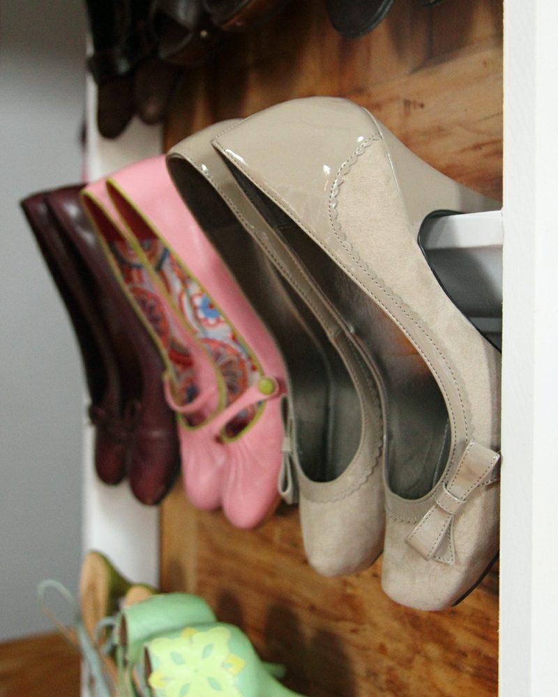 Schuhregal selber bauen für Absatzschuhe