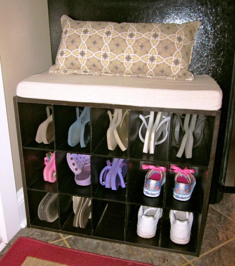 Schuhregal selber bauen kleiner Holzschrank Sitzbank