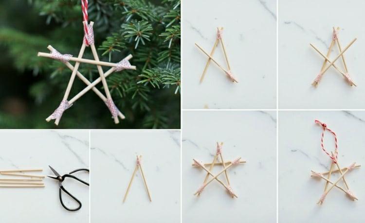 Sterne basteln Zahnstocher Weihnachtsbaumschmuck