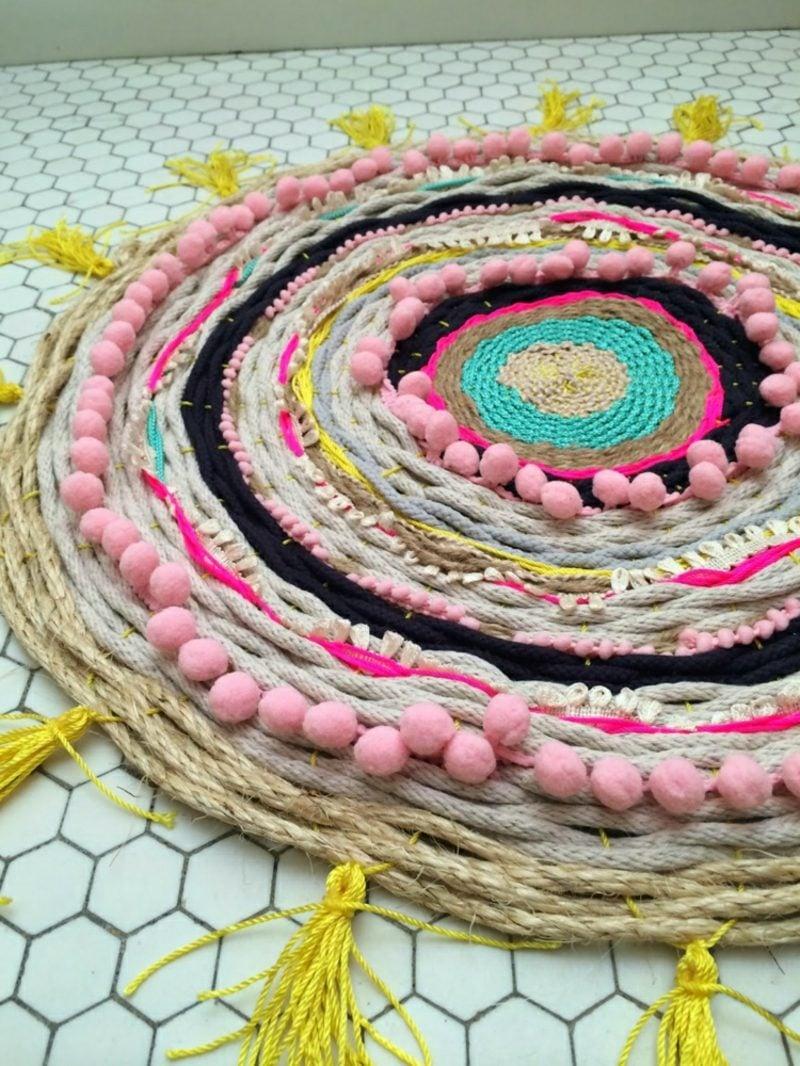 Teppich selber machen rund dekorativ Badezimmer