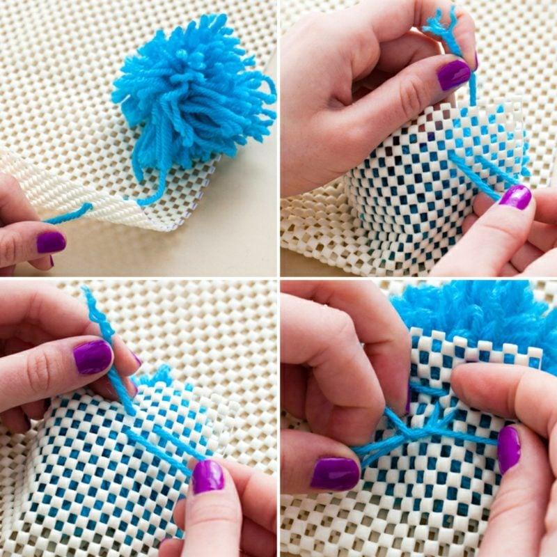 Teppich selber machen tolle Idee mit Bommeln