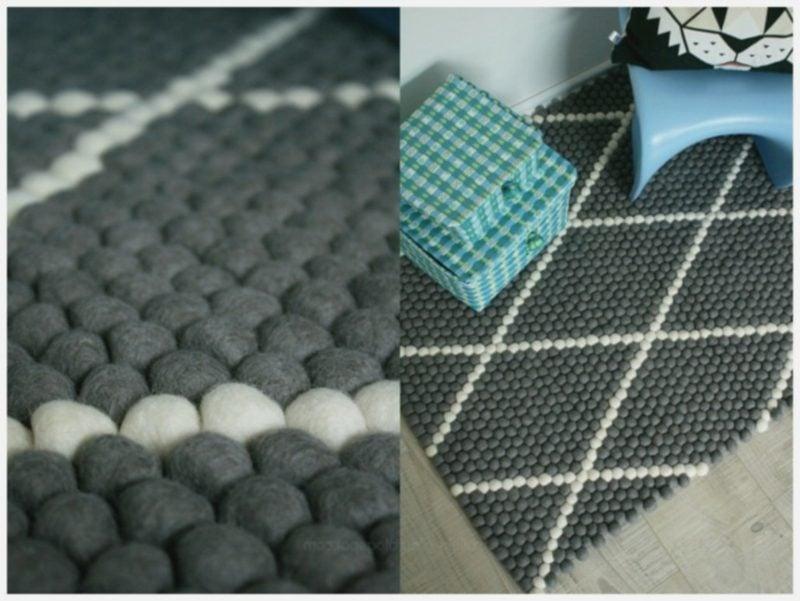 Teppich selber machen Filzkugen grau weiss