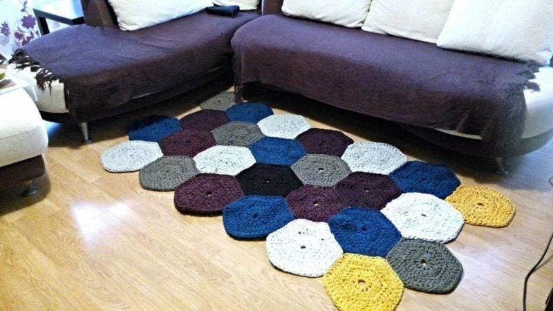 Teppich selber machen Patchwork Wohnzimmer origineller Look
