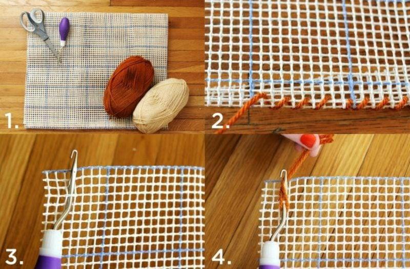 Teppich selber machen Wollfaden knüpfen Bilderanleitung
