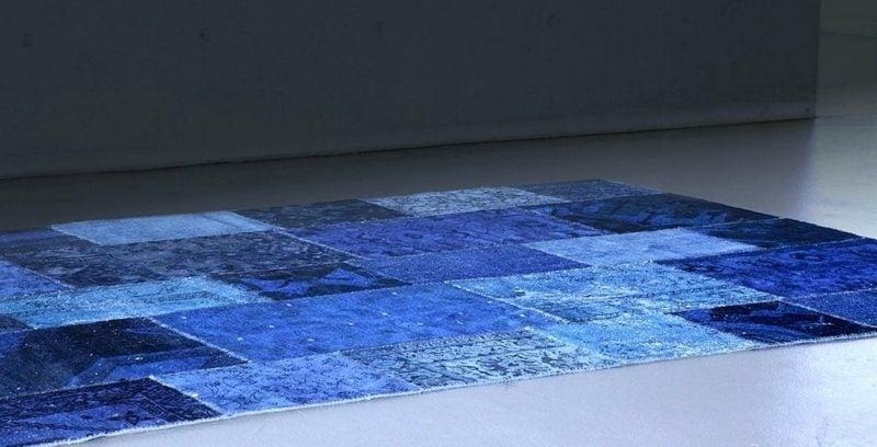 Teppich selber machen Patchwork blaue Nuancen