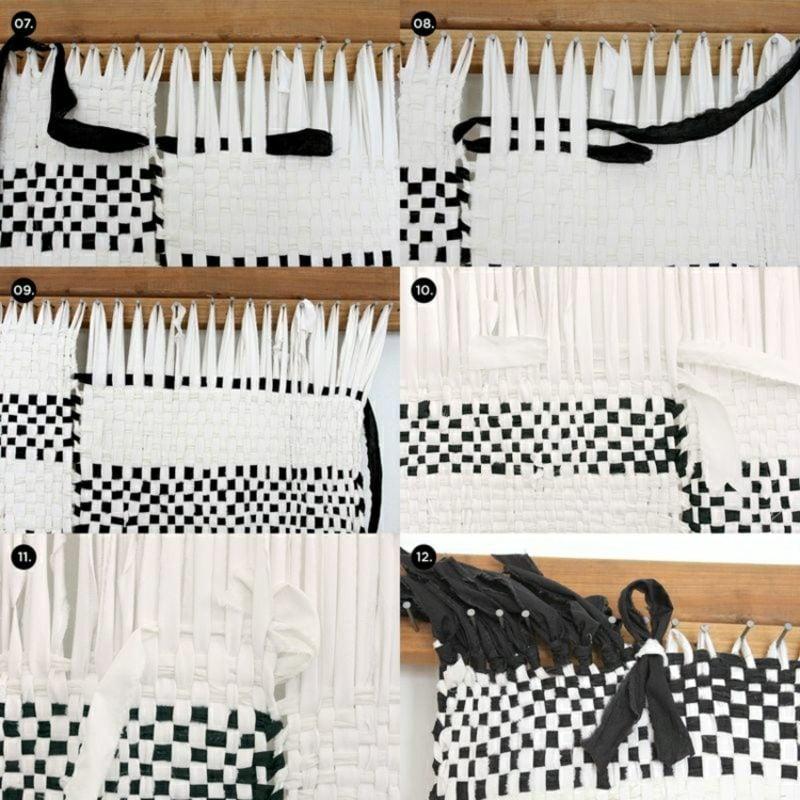 Teppich selber machen weben schwarz und weiss Anleitung