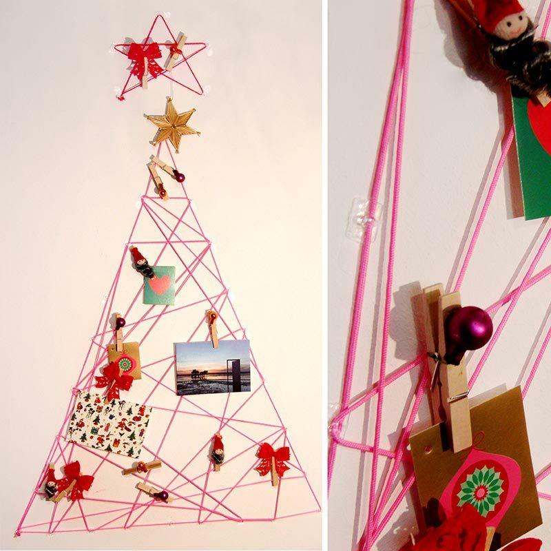 Weihnachtsbaum basteln Wand Faden originell