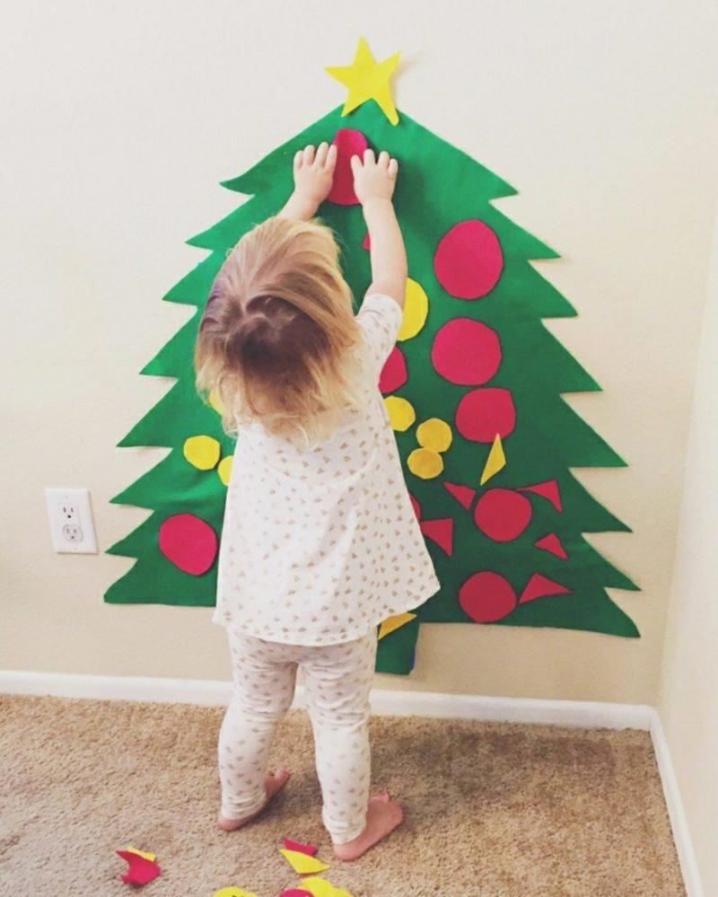 Weihnachtsbaum basteln und dekorieren mit Kleinkind