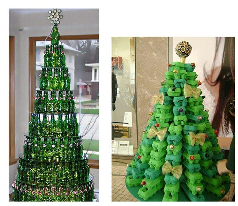 Weihnachtsbaum basteln Flaschen Eierkartons