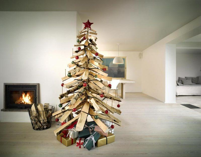 Weihnachtsbaum basteln Hölzer Kamin