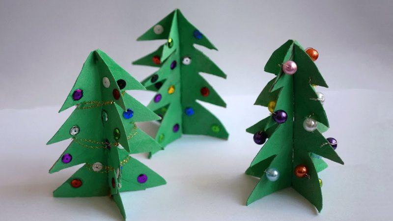 Weihnachtsbaum basteln und verzieren Klopapierrolle