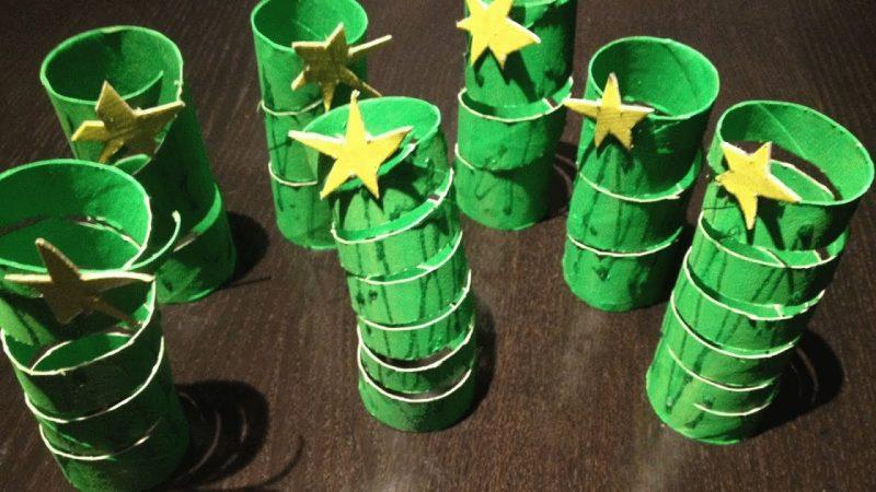 Weihnachtsbaum basteln Klopapierrolle