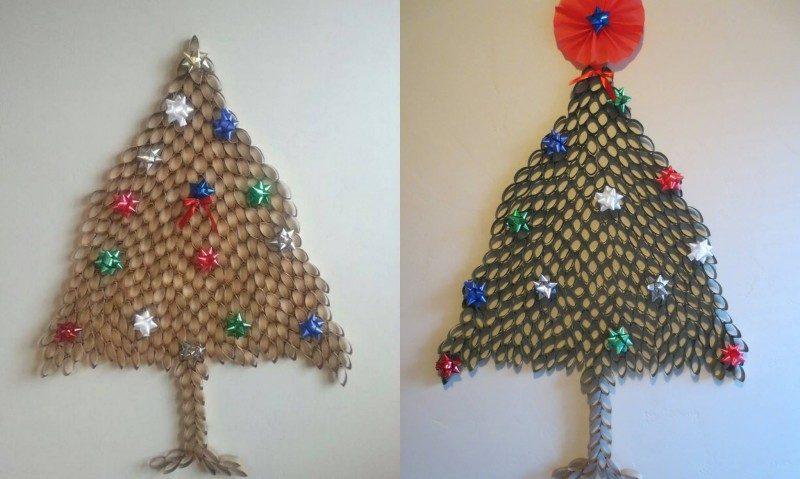 Weihnachtsbaum basteln Klopapierrollen herrlicher Look
