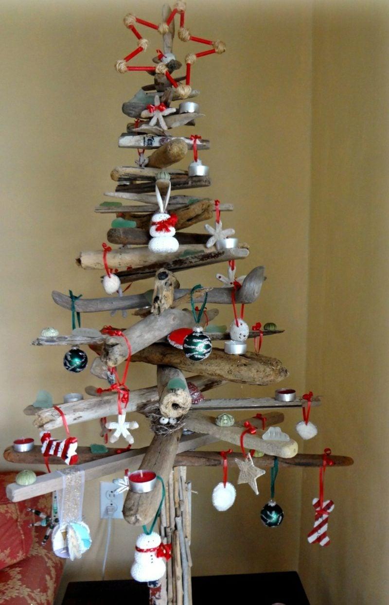 Weihnachtsbaum basteln umweltfreundlich Treibholz