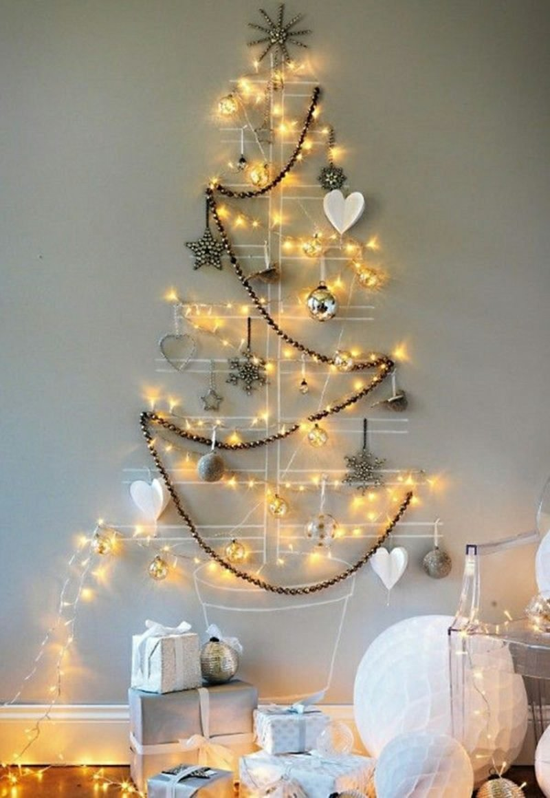 Weihnachtsbaum basteln an der Wand tolle Idee