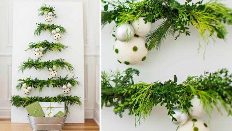 Weihnachtsbaum basteln grüne Zweige Wand