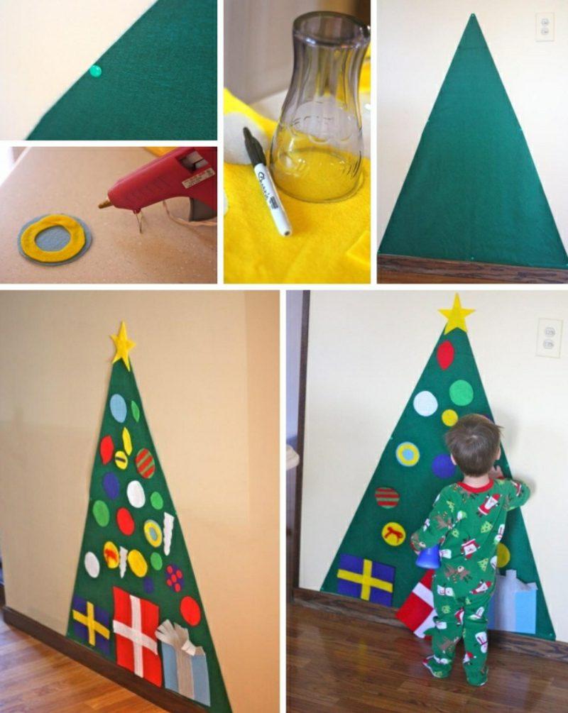 Weihnachtsbaum basteln Filz Papier Bilderanleitung