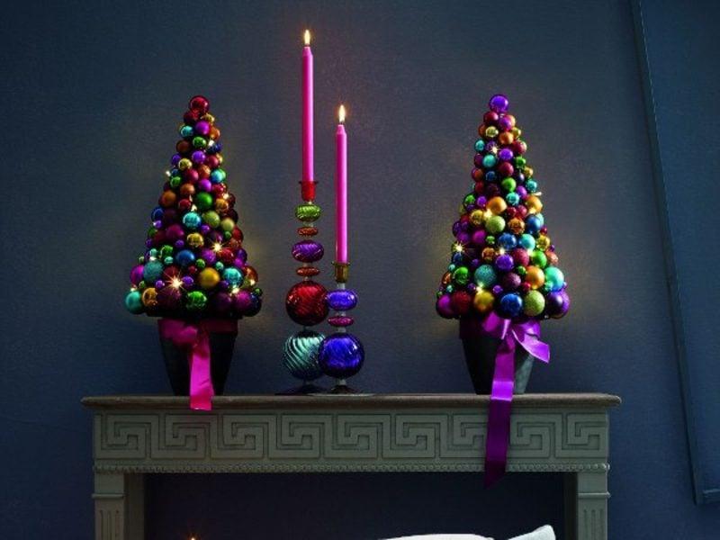 Weihnachtsbaum basteln Deko Kaminsims