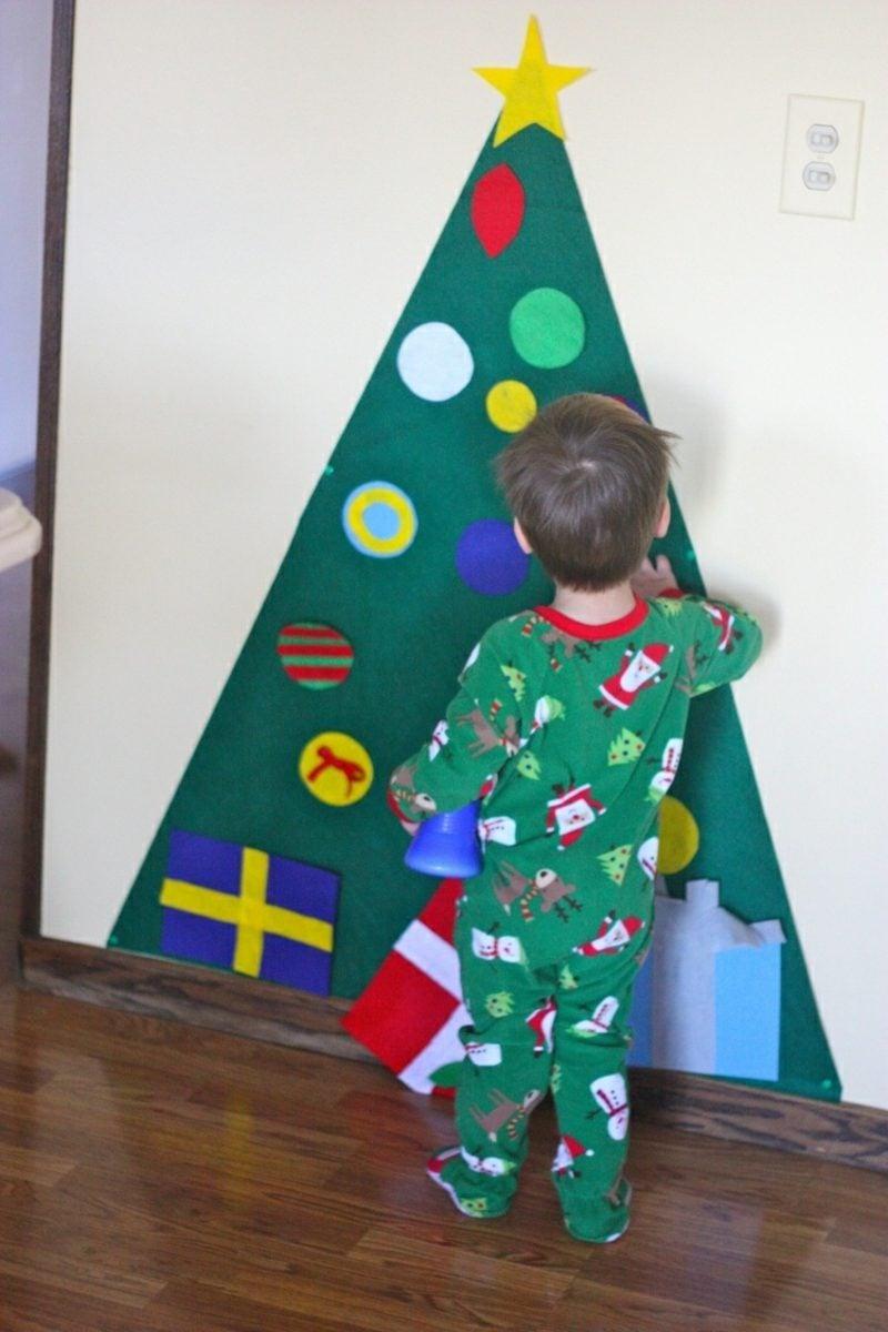 Weihnachtsbaum basteln aus Filz toller Look