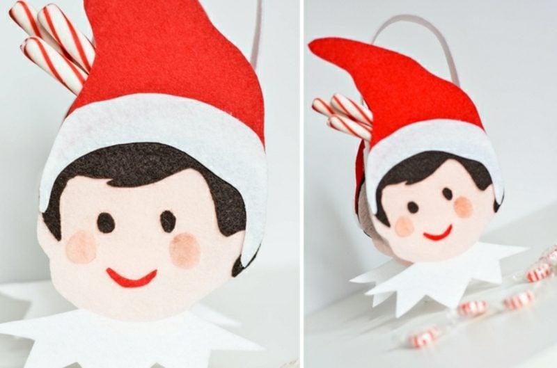 Wichtel basteln Papier Filz Zuckerstangen Weihnachtsdeko