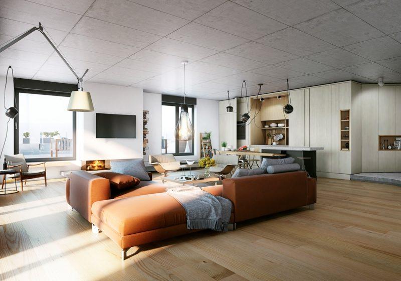 Betonwand Decke Wohnzimmer gross