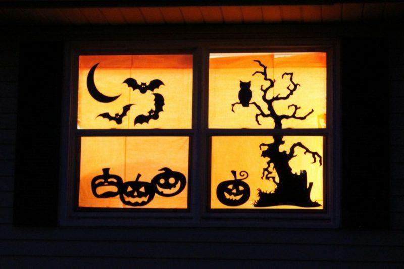 Halloween Deko selber machen für drauβen Fenster
