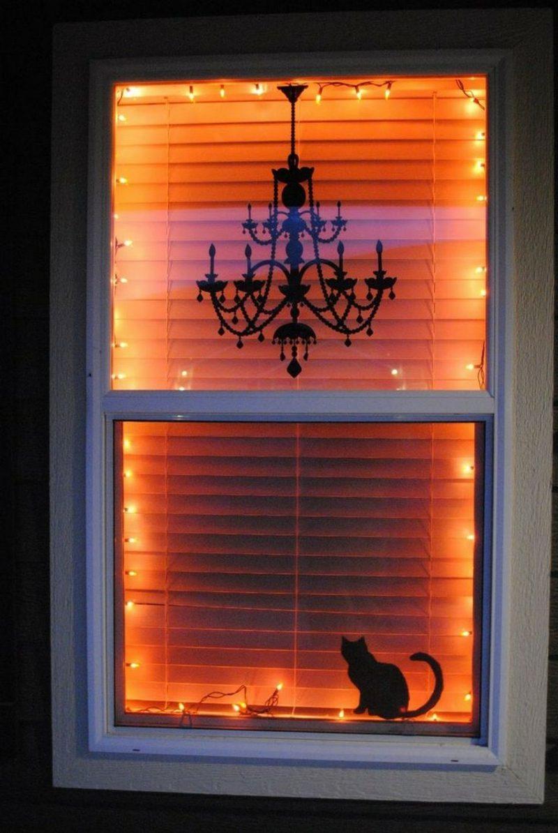 Halloween Deko selber machen für drauβen fenster Katze Kronleuchter
