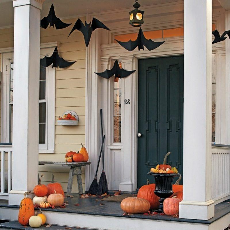 Halloween Deko selber machen für drauβen Fledermäuse