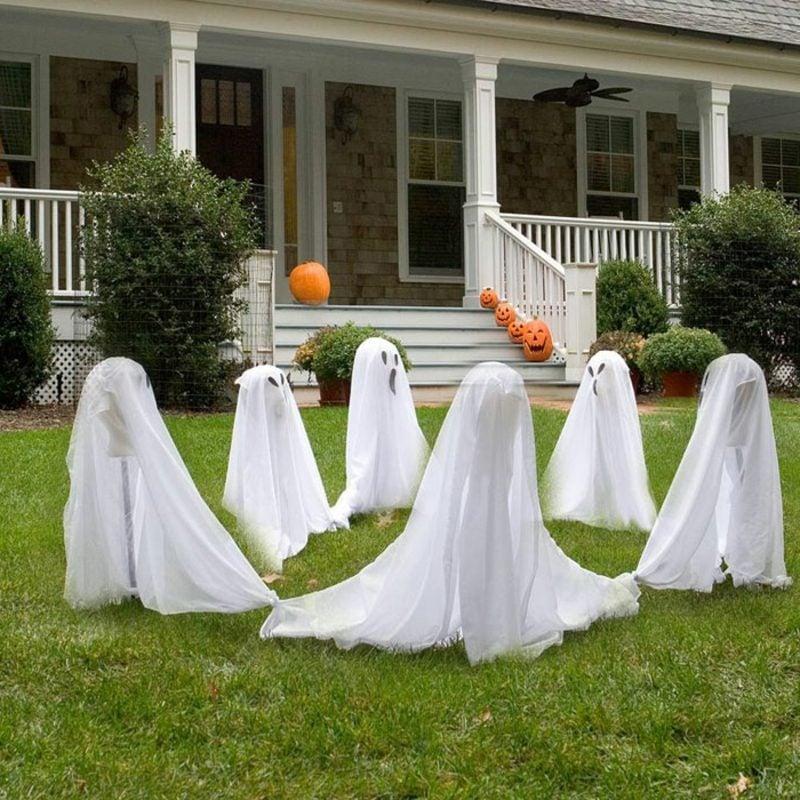 Halloween Deko selber machen für drauβen Gespenster Garten