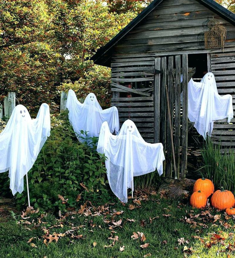 Halloween Deko selber machen für drauβen Geister DIY Ideen